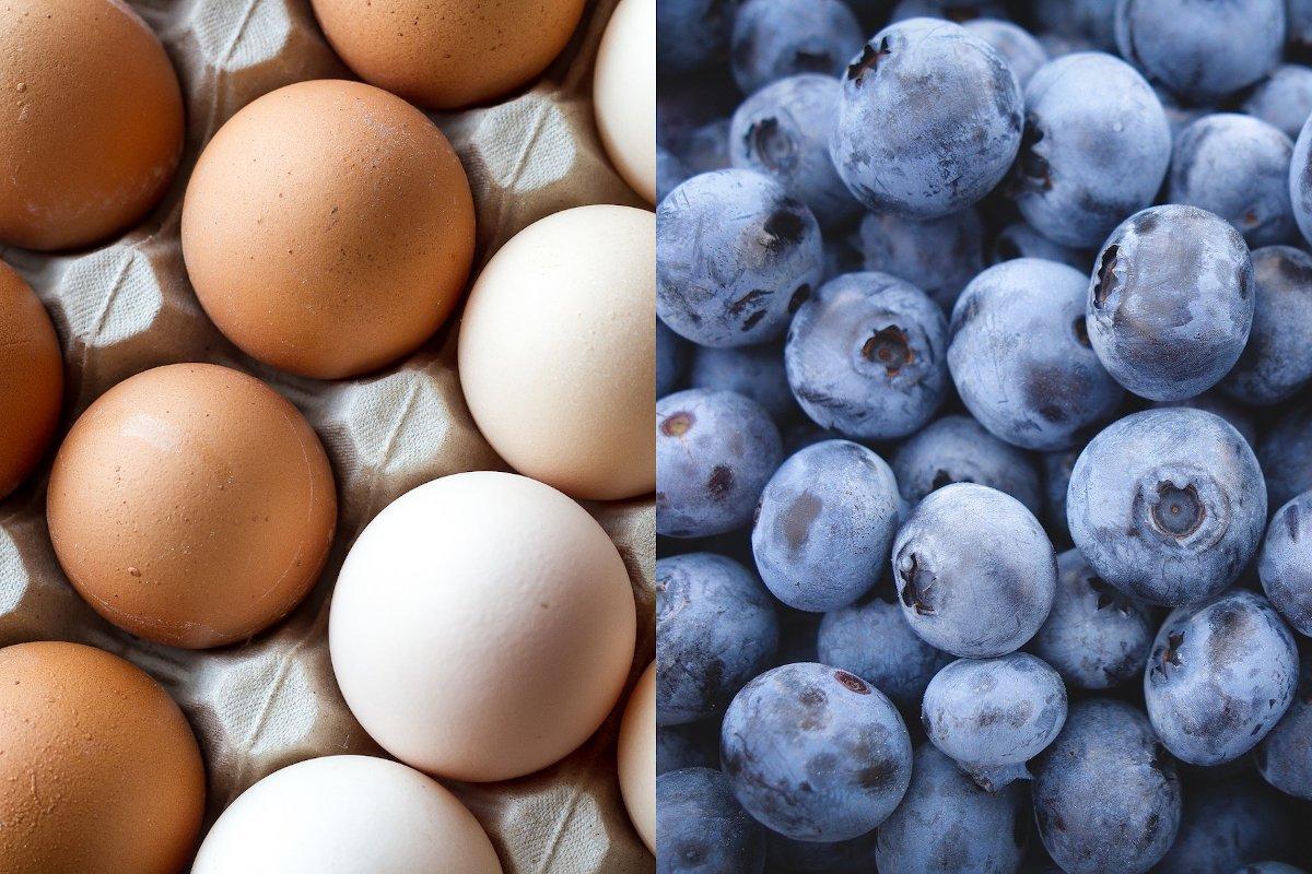 Fotomontage: Eier und Blaubeeren (© moiranazzari – pixabay.com (Eier), Free-Photos – pixabay.com (Blaubeeren))